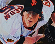 San Francisco Giants Painting Framed Prints - Tim Lincecum Framed Print by Shirl Theis