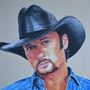 Singer Paintings - Tim McGraw by Shirl Theis