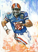 Running Back Mixed Media - Tim Tebow - Florida by Michael  Pattison