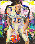 Denver Broncos Paintings - Tim Tebow by Jeff Gomez