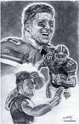 Tebow Drawings Posters - Tim Tebow Poster by Jonathan Tooley