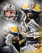 Goaltender Digital Art Framed Prints - Tim Thomas Framed Print by Mike Oulton