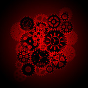 Cogwheel Digital Art Posters - Time Clock Gears Clipart on Red Background Poster by JPLDesigns