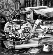 Teapot Drawings - Time for Tea by Jerry Winick