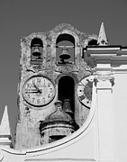 Scenes Of Italy Framed Prints - Time For The Bells bw Framed Print by Mel Steinhauer