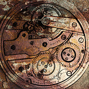 Timepieces Posters - Time In Abstract 20130605rust Square Poster by Wingsdomain Art and Photography