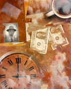 Coffee Drinking Digital Art Prints - Time is Money Print by Jacob King