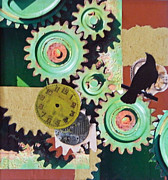 Gears Mixed Media Posters - Time Poster by Patricia  Tierney