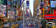 Nyc Digital Art Metal Prints - Time Square New York 20130430 Metal Print by Wingsdomain Art and Photography
