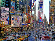 Newyork Digital Art Metal Prints - Time Square New York 20130430v2 Metal Print by Wingsdomain Art and Photography