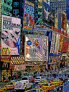 Taxis Prints - Time Square New York 20130430v3 Print by Wingsdomain Art and Photography