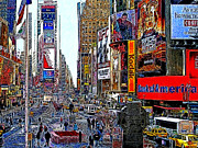 Nyc Digital Art Metal Prints - Time Square New York 20130503v4 Metal Print by Wingsdomain Art and Photography