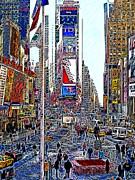 Nyc Digital Art Metal Prints - Time Square New York 20130503v6 Metal Print by Wingsdomain Art and Photography