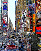 Nyc Digital Art Metal Prints - Time Square New York 20130503v7 Metal Print by Wingsdomain Art and Photography