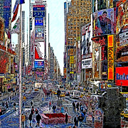 Nyc Digital Art Metal Prints - Time Square New York 20130503v8 square Metal Print by Wingsdomain Art and Photography