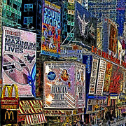 Nyc Digital Art Metal Prints - Time Square New York 20130503v9 square Metal Print by Wingsdomain Art and Photography