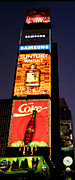 City Streets Posters - Time Square Vertical Pano Poster by Joann Vitali