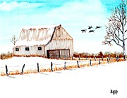 Old Barn Paintings - Time Tells All by Doug Basch