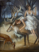 Elk Paintings - Time to Hold on by Jacque Hudson-Roate