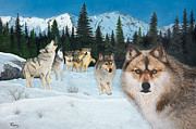 Wolf Howling Paintings - Time to Hunt by Ron Thompson