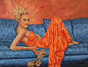 Evening Gown Paintings - Time to kick the shoes off by Lee Ann Newsom