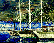 Docked Boat Painting Prints - Time To Sail  Print by Mark Moore