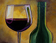 Wine Bottle Paintings - Time to Unwind by Julie Brugh Riffey