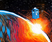 Tardis Digital Art Prints - Time Travel Tardis Print by Jera Sky