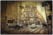 Horse And Buggy Framed Prints - Time Traveling in Palermo - Sicily Framed Print by Madeline Ellis