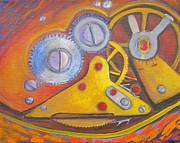 Mechanism Painting Posters - Time Unfolding Study Poster by Vivian Haberfeld