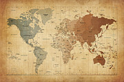 Featured Prints - Time Zones Map of the World Print by Michael Tompsett