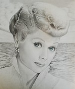Celebrity Portraits Drawings Posters - Timeless Beauty 2 Poster by Brent  Mileham