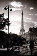 Streetlight Photo Framed Prints - Timeless Eiffel Tower Framed Print by Olivier Le Queinec