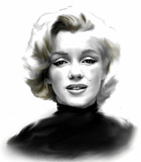 Icon Drawings Posters - Timeless Marilyn Monroe  Poster by Iconic Images Art Gallery David Pucciarelli
