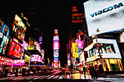 Bright Lights Framed Prints - Times Square Framed Print by Andrew Paranavitana