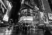 Manhattan Framed Prints - Times Square black and white  Framed Print by John Farnan