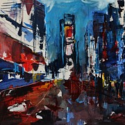 Limousine Prints - Times Square by Night Print by Elise Palmigiani
