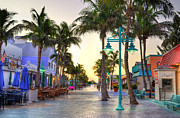 Ocean Scenes Digital Art Posters - Times Square Fort Myers Beach Poster by Timothy Lowry