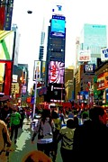 City Scene Drawings Metal Prints - Times Square Metal Print by Julia Gatti