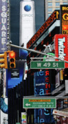 Adspice Studios Art Framed Prints - Times Square Lights and Signs Framed Print by Anahi DeCanio Photography