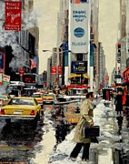 Manhatan Painting Framed Prints - Times Square Framed Print by Michael Swanson