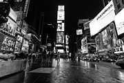 Winter Night Framed Prints - Times Square mono Framed Print by John Farnan