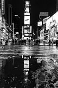 Nyc Taxi Framed Prints - TImes square monochromatic  Framed Print by John Farnan