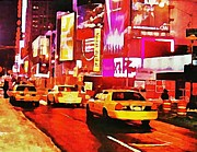 Broadway In New York Prints - Times Square near Broadway Print by Halifax artist John Malone