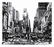 Cities Drawings Posters - Times Square   New York City Poster by Iconic Images Art Gallery David Pucciarelli