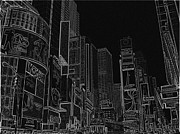 Times Square Nyc Digital Art Prints - Times Square NYC white on black Print by Meandering Photography