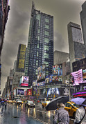 Mapping Photos - Times Square Rain by David Bearden