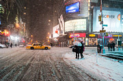 Winter Night Metal Prints - Times Square Snow - Winter in New York City Metal Print by Vivienne Gucwa