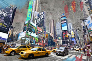 Cabs Framed Prints - Times Square street creation Framed Print by Delphimages Photo Creations