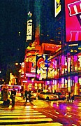 John Malone Artist Framed Prints - Times Square Two Framed Print by John Malone